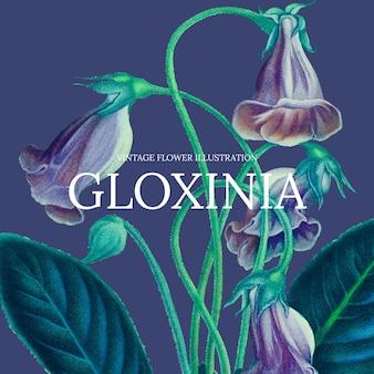 Ilustração em vetor modelo floral vintage com fundo de gloxinia, remixada de obras de arte de domínio público