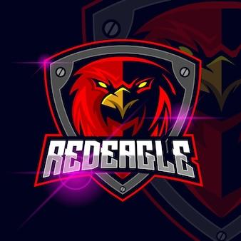 Ilustração em vetor modelo logotipo eagle red esport