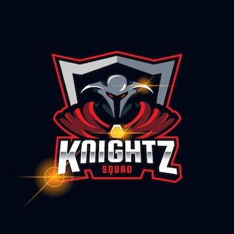 Ilustração em vetor modelo logotipo spartan knight esport