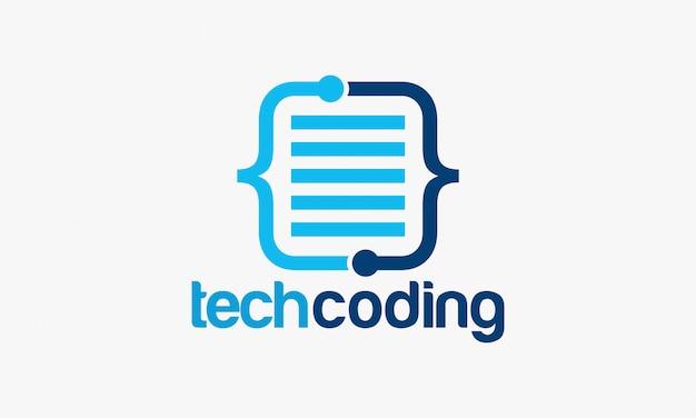 Ilustração em vetor modelo tecnologia codificação logotipo