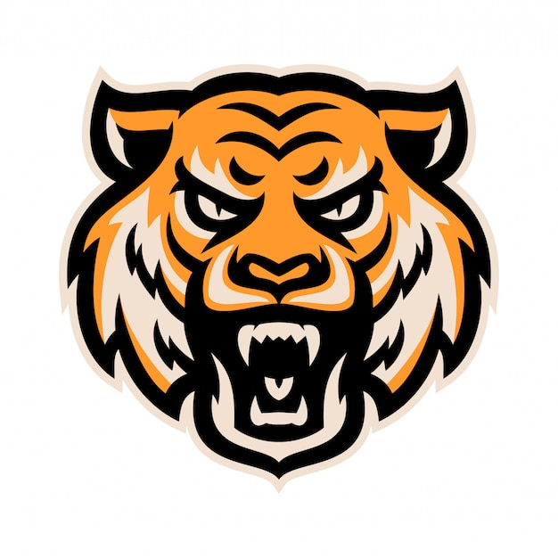 Ilustração em vetor modelo tigre cabeça logotipo mascote com raiva