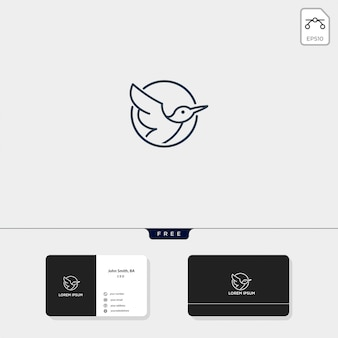 Ilustração em vetor modelo voador pássaro contorno logotipo e cartão de visita incluem