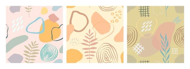 Ilustração em vetor moderno com folhas caindo, splash, texturas grunge, pinceladas ásperas, rabiscos. desenho abstrato criativo sem costura padrão definido com formas desenhadas à mão