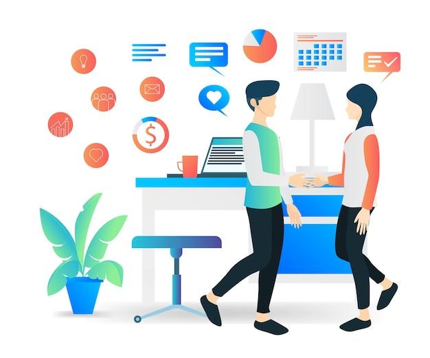 Ilustração em vetor moderno estilo simples sobre como negociar um emprego com um cliente