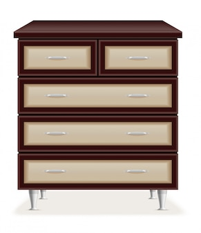 Ilustração em vetor moderno móveis de madeira cômoda