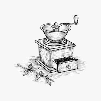 Ilustração em vetor moedor de café vintage mão desenhada