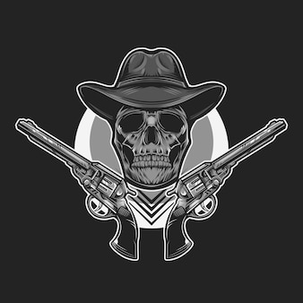 Ilustração em vetor monocromático caveira cowboy