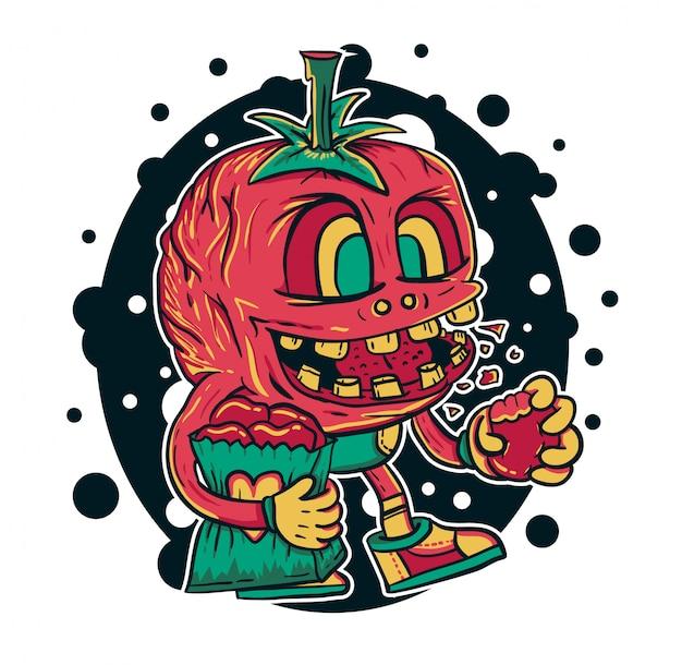 Ilustração em vetor monstro tomate