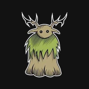 Ilustração em vetor monstro woodden