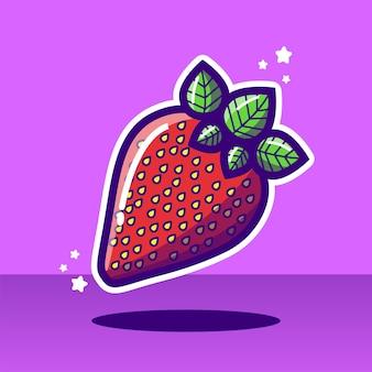 Ilustração em vetor morango fruta