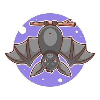 Ilustração em vetor morcego pendurado fofo