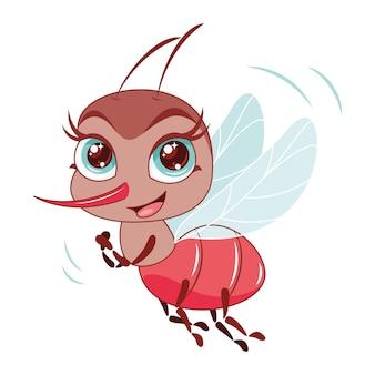 Ilustração em vetor mosquito com coceira voando