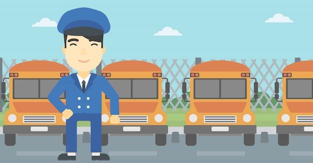 Ilustração em vetor motorista de ônibus escolar.