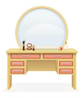 Ilustração em vetor móveis modernos mesa vaidade