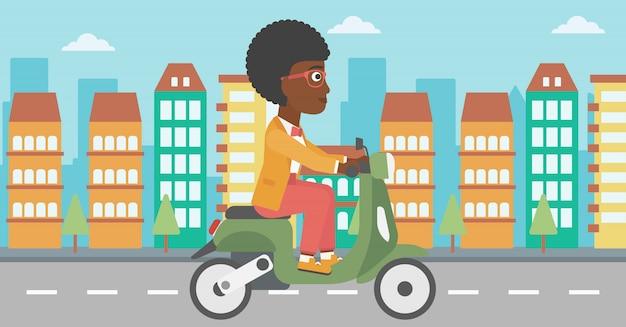 Ilustração em vetor mulher andando de scooter.