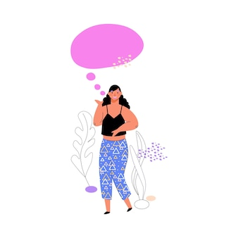 Ilustração em vetor mulher com discurso conversa bolha cartoon isolada