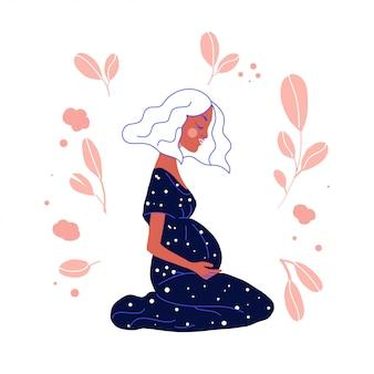 Ilustração em vetor mulher grávida