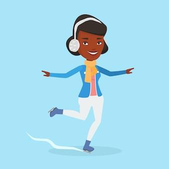 Ilustração em vetor mulher patinação no gelo.