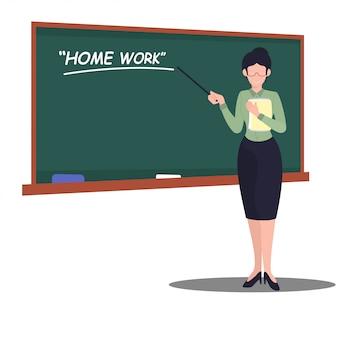 Ilustração em vetor mulher professora estilo simples