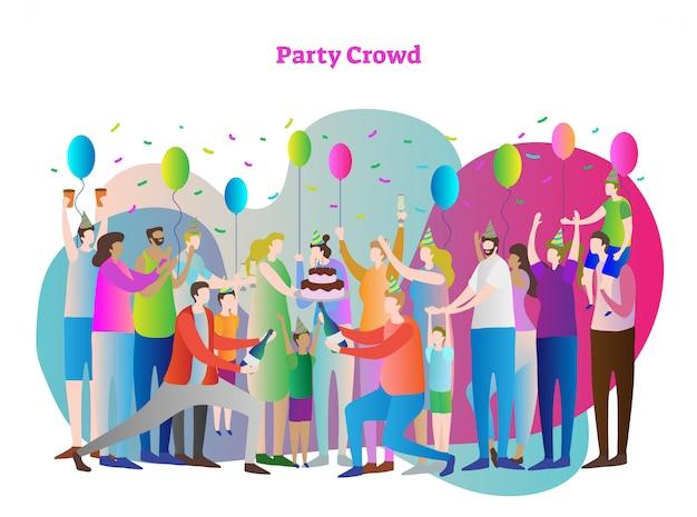 Ilustração em vetor multidão festa
