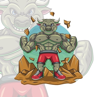 Ilustração em vetor músculo touro