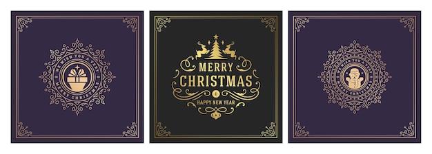 Ilustração em vetor natal banners quadrados vintage tipográficos e ornamentados símbolos de decoração