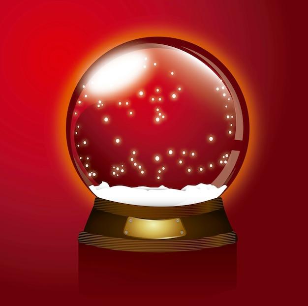 Ilustração em vetor natal feliz globo de neve de natal vermelho