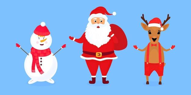 Ilustração em vetor natal, papai noel e boneco de neve