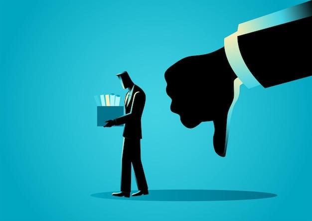 Ilustração em vetor negócios de uma mão fazendo o polegar para baixo, desempenho ruim, símbolo de rejeição