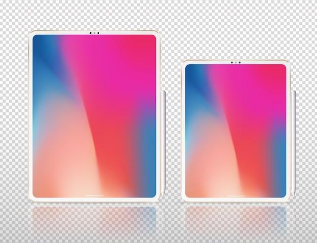 Ilustração em vetor novo tablet pro x. tablet profissional inteligente com lápis gráfico. isolado no branco.