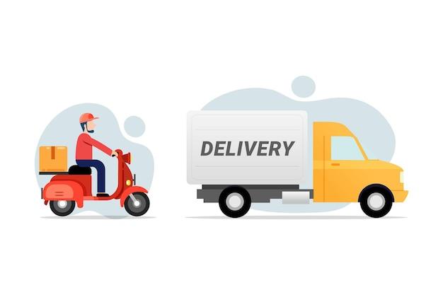 Ilustração em vetor objeto transporte serviço de entrega