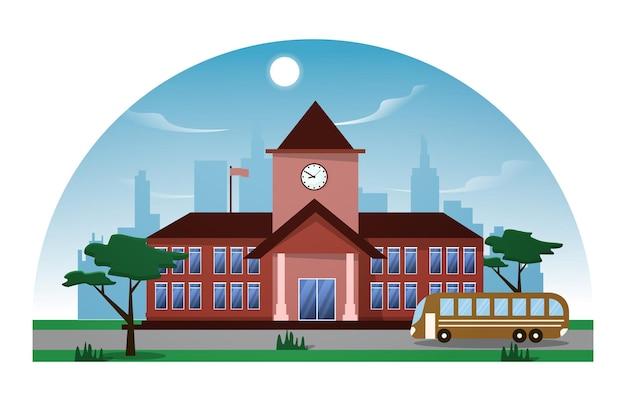 Ilustração em vetor ônibus escola edifício estudo aprendizagem educação