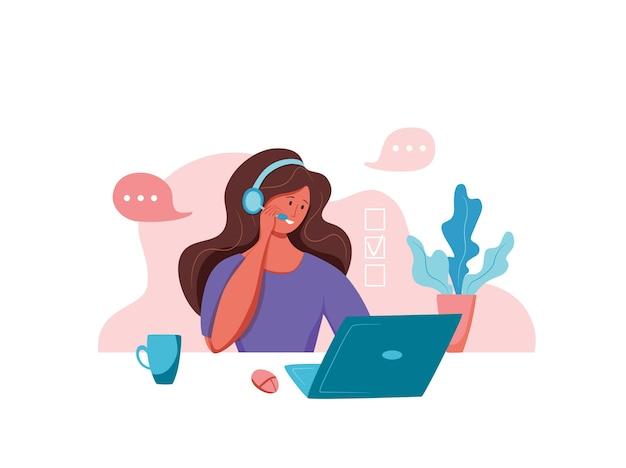 Ilustração em vetor operador de call center mulher de gerente de suporte on-line ao cliente trabalhando