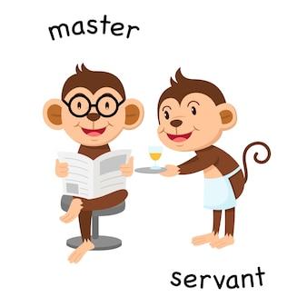 Ilustração em vetor oposto mestre e servo