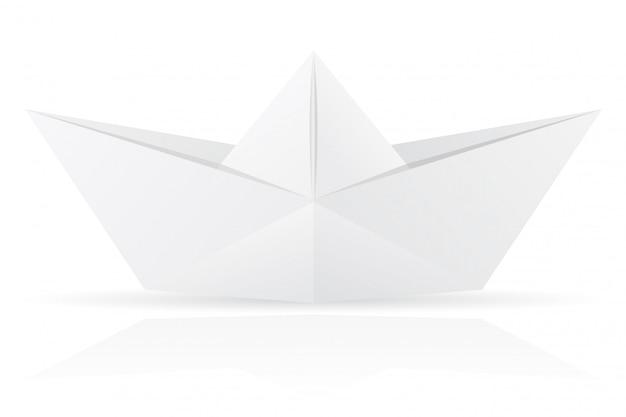 Ilustração em vetor origami papel barco