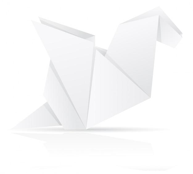 Ilustração em vetor origami papel dragão
