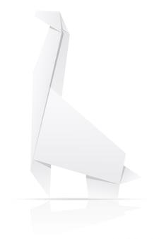 Ilustração em vetor origami papel girafa