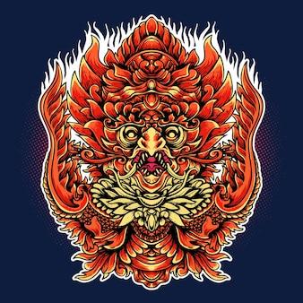 Ilustração em vetor ornamento jatayu