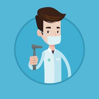 Ilustração em vetor ouvido nariz garganta médico.
