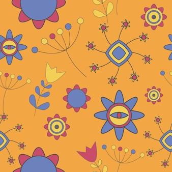 Ilustração em vetor padrão abstrato fofo flor
