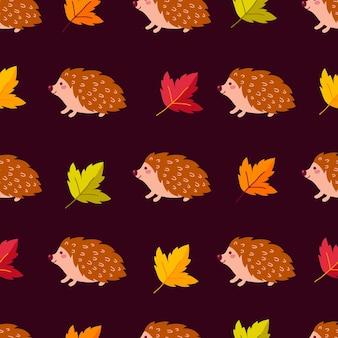 Ilustração em vetor padrão animal ouriço fofo sem costura