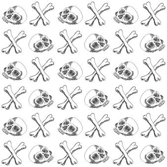 Ilustração em vetor padrão handdraw osso crânio