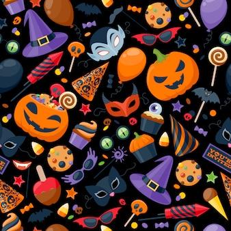 Ilustração em vetor padrão sem costura colorida de festa de halloween.