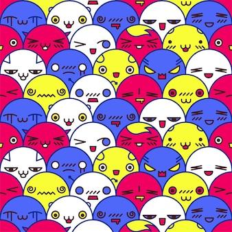 Ilustração em vetor padrão sem emenda colorido bonito dos desenhos animados