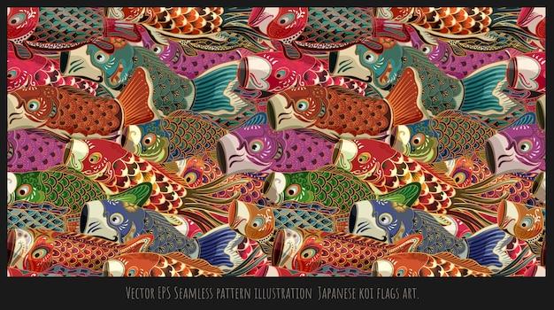Ilustração em vetor padrão sem emenda de estilo japonês desenhado arte de bandeiras de peixes koi.