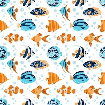 Ilustração em vetor padrão sem emenda de fauna subaquática tropical