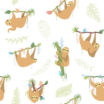 Ilustração em vetor padrão sem emenda de preguiça de personagem bonito. bebê isolado dos desenhos animados subindo preguiças.