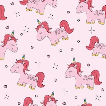 Ilustração em vetor padrão unicórnio rosa sem emenda - capa de vetor de mão desenhada. desenho animado gráfico engraçado
