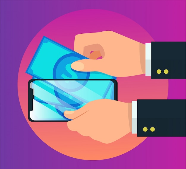 Ilustração em vetor pagamento móvel carteira eletrônica