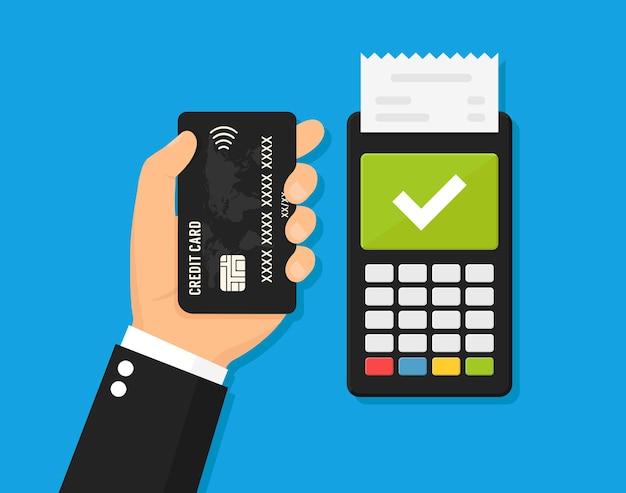Ilustração em vetor pagamento nfc, pagamento usando um smartphone